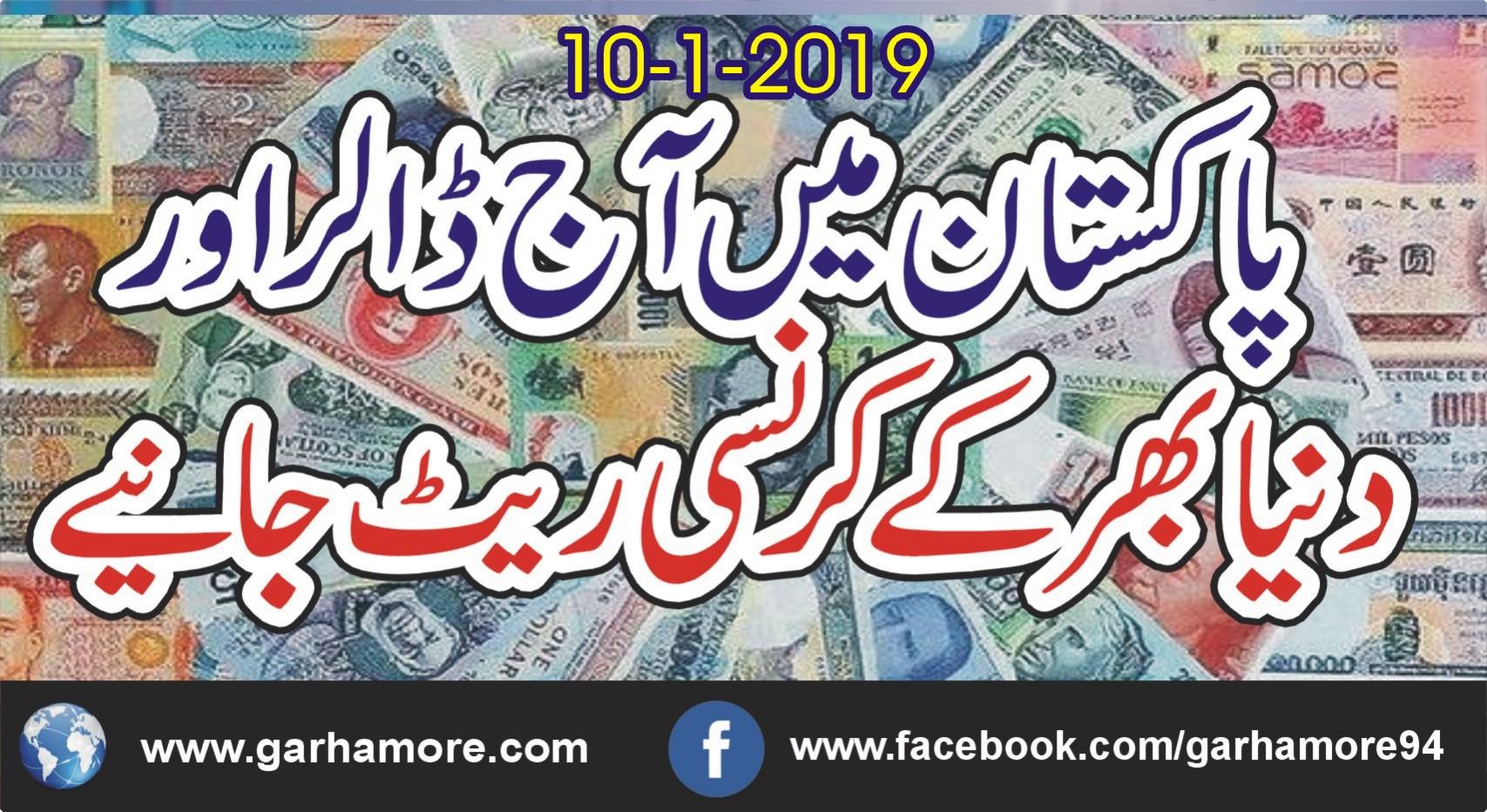 10 جنوری 2019: پاکستان میں آج کے کرنسی ریٹ جانیے ….