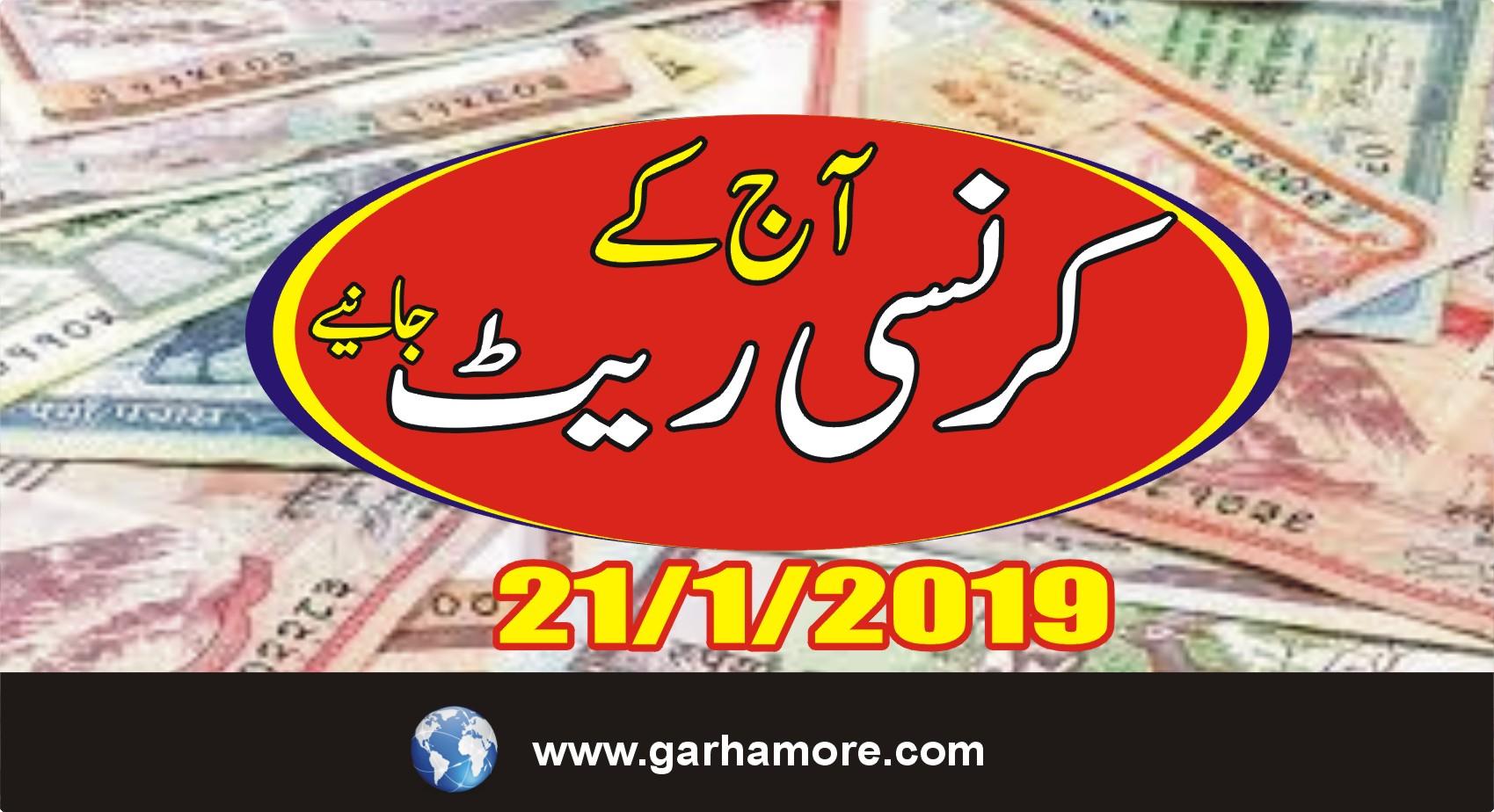 21 جنوری 2019: پاکستان میں آج کے کرنسی ریٹ جانیے ….